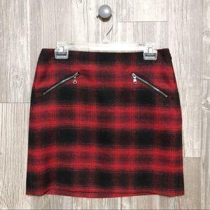 {Banana Republic} Red Plaid Wool Zipper Skirt